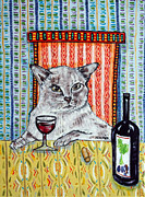 Tonkinese Posters - Tonkinese Cat at the Wine Bar Poster by Jay  Schmetz