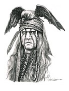 Western Pencil Drawing Posters - Tonto Poster by Murphy Elliott
