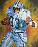 League Painting Framed Prints - Tony Dorsett - Dallas Cowboys  Framed Print by Mike Rabe