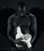 Black-and-white Posters - Tony holding Annabelle Poster by Anne Geddes