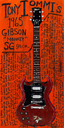 Guitars Paintings - Tony Iommi 1965 Gibson SG by Karl Haglund
