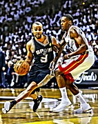 Slam Dunk Metal Prints - Tony Parker Painting Metal Print by Florian Rodarte