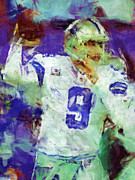 Pro Football Digital Art Prints - Tony Romo Abstract 2 Print by David G Paul