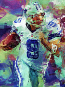 Pro Football Digital Art Prints - Tony Romo Abstract 4 Print by David G Paul