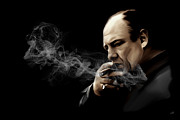 Smoking Metal Prints - Tony Soprano Metal Print by Laurence Adamson