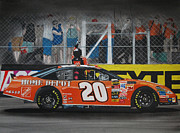 Flag Drawings Prints - Tony Stewart Climbs for the Checkered Flag Print by Paul Kuras