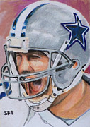 Quarterback Paintings - Tony Tony by Steve Teets