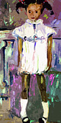 White Dress Prints - Tonya was a shy Girl Child Portrait Print by Ginette Callaway