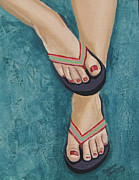 Flip-flops Paintings - Too Cute Tootsies by Debora Baxter Jackson