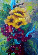 Grape Vine Mixed Media Prints - Too Delicate for Words - Yellow Flowers and Red Grapes Print by Eloise Schneider