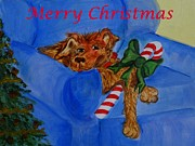 Christmas Dogs Prints - Too Much Doggie Christmas Print by Elizabeth Liz Pritchett