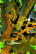 Too Much Vibrations Digital Guitar Art By Steven Langston Print by Steven Lebron Langston
