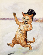 Christmas Greeting Painting Posters - Top Cat Poster by Louis Wain
