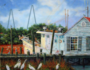 South Carolina Low Country Marsh Paintings - Top Dog Shrimper - At Rest by Dwain Ray
