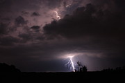 Lightning Storms Metal Prints - Top Down Metal Print by Reid Callaway