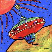 Outer Space Painting Prints - Top in Space Print by Dale Moses