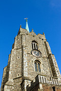 Light Shafts Posters - Top Of Churtch Tower Against A Blue Sky Poster by Fizzy Image