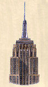 Skyscraper Drawings Posters - Top of Empire State Building New York City Poster by Gerald Blaikie