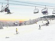 Ski Drawings Prints - Top of the Mountain at Seven Springs Print by Albert Puskaric