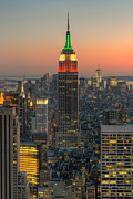 Rockefeller Center Prints - Top of the Rock Twilight IV Print by Clarence Holmes
