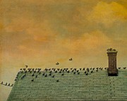Roof Top Digital Art Prints - Top Of The Roof Print by Gothicolors With Crows