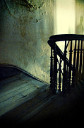 Wooden Stairs Posters - Top of the Stairway Shadow Poster by Jill Battaglia