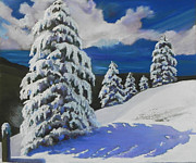 Snowstorm Pastels Posters - Top of the World Poster by Mary Olivera