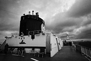 Observation Photos - Top Open Deck With Smoke Stack On Board Hurtigruten Passenger Ship Sailing Through Fjords by Joe Fox