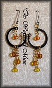 Gold Earrings Jewelry Prints - Topaz drops Print by Jan  Brieger-Scranton