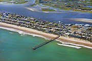 Topsail Island Posters - Topsail Beach Aerial Poster by Betsy A Cutler East Coast Barrier Islands