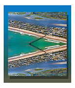 Topsail Island Digital Art Framed Prints - Topsail Beach Aerial Reflection Framed Print by Betsy A Cutler East Coast Barrier Islands