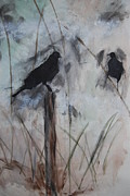 Topsail Island Mixed Media - Topsail Birds by Leslie Campbell
