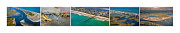 Surf City Posters - Topsail Island Aerial Panels Poster by East Coast Barrier Islands Betsy A Cutler