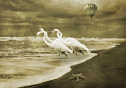 Great White Egrets Digital Art - Topsail Island Dream  by Betsy A Cutler East Coast Barrier Islands