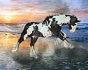Paint Horse Mixed Media Posters - Topsail Phantom  Poster by East Coast Barrier Islands Betsy A Cutler