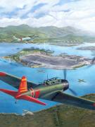 Harbor Painting Framed Prints - Tora Tora Tora The Attack on Pearl Harbor Begins Framed Print by Stu Shepherd