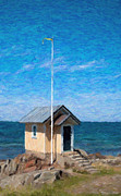 Sweden  Digital Art Posters - Torekov Beach Hut Painting Poster by Antony McAulay