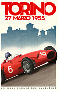 Turin Digital Art Posters - Torino Grand Prix 1955 Poster by Nomad Art And  Design