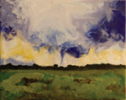 Encaustic Posters - Tornado - Clay AZ Poster by Marilyn Fenn