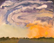 Encaustic Paintings - Tornado - Near Sioux City Nebraska - May 28 2004 by Marilyn Fenn