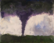 Encaustic Paintings - Tornado - Phoenix AZ - August 15 2004 by Marilyn Fenn