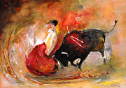 Bullfight Paintings - Toro 777 by Miki De Goodaboom