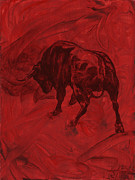 Abstract Bull Painting Posters - Toro painting Poster by Konni Jensen