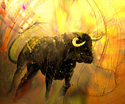 Bullfight Paintings - Toro Solo 02 by Miki De Goodaboom