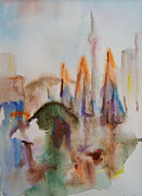 Fog Paintings - Toronto in the morning Sold by Alena Samsonov