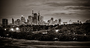 Urban Buildings Prints - Toronto Skyline At Night BW Print by Levin Rodriguez