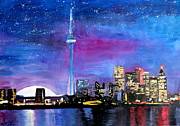 Image Painting Originals - Toronto Skyline at Night with CN Tower by M Bleichner