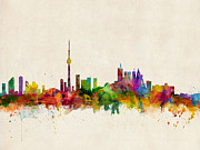 Watercolor Digital Art Posters - Toronto Skyline Poster by Michael Tompsett