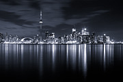 Black-and-white Metal Prints - Toronto Skyline Monochrome Metal Print by Matt  Trimble