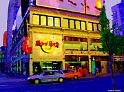 Streetscenes Paintings - Toronto Street Scene Night Scapes Hard Rock Cafe Downtown Drive By City Lights Canadian Art Cspandau by Carole Spandau